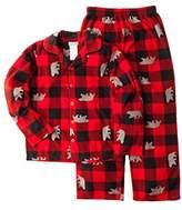 Komar Kids Boys Bear Fleece Plaid 2 Piece Pajama Set, Print (Large (10/12))