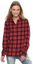 Juniors' SO® Flannel Plaid Button-Down Shirt