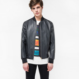 Paul Smith Men's Dark Navy Grained Leather Bomber Jacket With 'Artist Stripe' Trim Lining