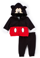 Children's Apparel Network Black Mickey Mouse Ear Hoodie & Pants - Infant