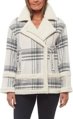 Sanctuary Plaid Wool Blend Coat with Faux Shearling Trim