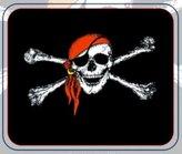 "Ruffin Pirate Blanket - Jolly Roger Red Hat Deluxe Polar Fleece 50\""x60\"""