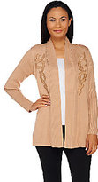 Bob Mackie Bob Mackie's Open Front Cardigan with Faux Leather Applique