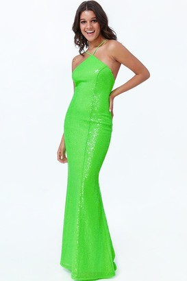 Goddiva Lime Low Back Sequin Halter Maxi Dress