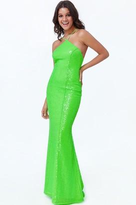 Goddiva Lime Low Back Sequin Halter Maxi Dress