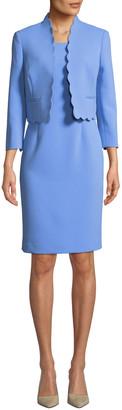 Albert Nipon Two-Piece Scallop-Edge Topper & Dress Set