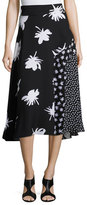 Prabal Gurung Patchwork Floral-Print Midi Skirt