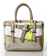 Reed Krakoff Beige Leather Double Handle Structured Tote Handbag