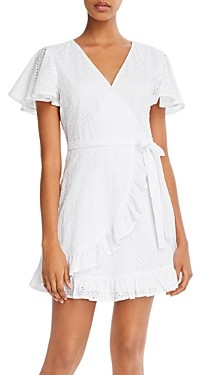 BB Dakota Easy On The Eyelet Cotton Faux-Wrap Dress