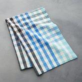 Crate & Barrel Cool Blue Check Dish Towel