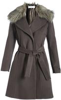 T Tahari Moon Gray Fiona Wool-Blend Trench Coat