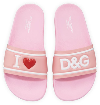 Dolce & Gabbana Leather I Heart Pool Slide Sandals, Kids