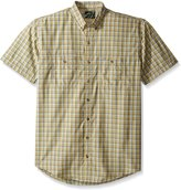 G.H. Bass Men's Big-Tall Short Sleeve Fancy Explorer Small Plaid Shirt, Neutral Grey