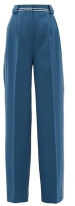 Fendi Topstitched Wool-gabardine Wide-leg Trousers - Womens - Blue Multi