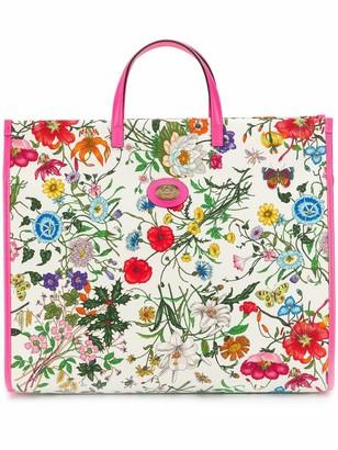 Gucci floral print tote bag