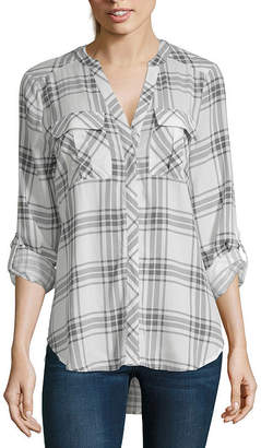 A.N.A 3/4 Roll Tab Sleeve Pleat Pocket Button-Front Shirt - Tall