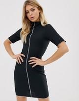 Asos Design DESIGN mini rib bodycon dress with contrast stitch