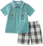 Calvin Klein 2-Pc. Polo Shirt & Plaid Shorts Set, Baby Boys (0-24 Months)
