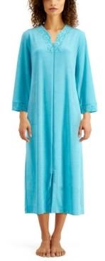 Miss Elaine Lace-Trim Long Terry Zipper Robe