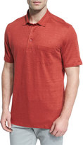 Ermenegildo Zegna Linen Short-Sleeve Polo Shirt, Red