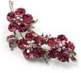 Avalaya Swarovski Crystal Floral Brooch (Silver&Pink)