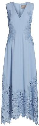 Lela Rose Embroidered Applique Crepe Midi Dress