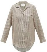 Asceno - Paris Crescent-print Silk-twill Pyjama Shirt - Womens - Cream Multi