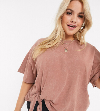 Asos DESIGN Curve t-shirt with knot front in wash