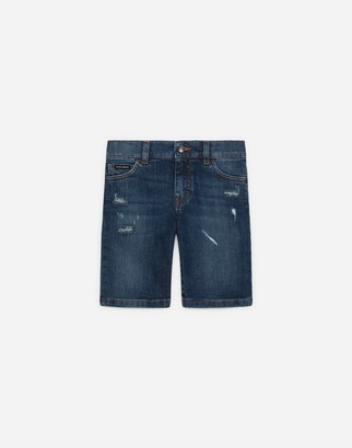 Dolce & Gabbana Blue Stretch Denim Bermuda Shorts With Rips