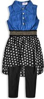 Generic Girls Denim Polka Dot Legging Outfit Set