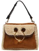 J.W.Anderson Pierce medium shearling and suede shoulder bag