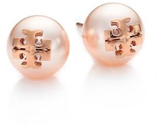Tory Burch Crystal-Pearl Rose Goldtone Logo Stud Earrings
