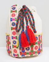 Glamorous Drawstring Shoulder Bag With Floral Print