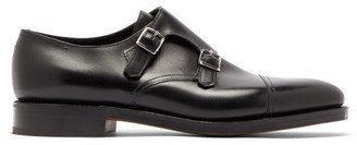 John Lobb William Monk Strap Leather Shoes - Black