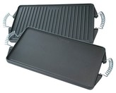 Victoria Rectangular Cast Iron Reversible Grill Griddle with Cool-Touch Handles