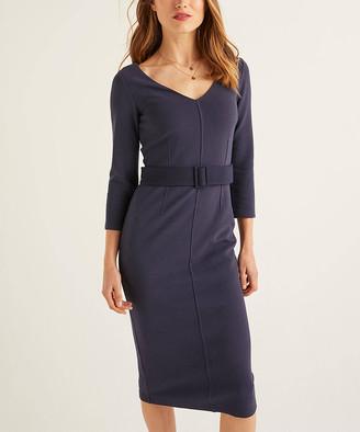 Boden Women's Casual Dresses Navy - Navy Margie Ottoman Jersey Belted Bodycon Dress - Women, Women's Tall & Petite
