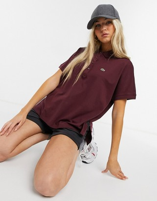Lacoste oversized polo shirt in maroon