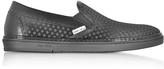 Jimmy Choo Grove Black Satin Men's Slip on Sneakers w/Mini Rubber Star