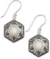 Macy's Mother-of-Pearl & Marcasite Hexagon Drop Earrings in Silver-Plate