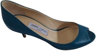 Jimmy Choo Anouk Turquoise Leather Heels