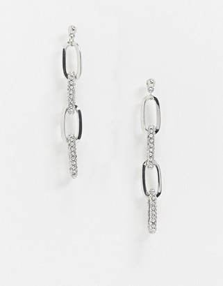 Glamorous silver link earrings with crystals