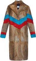 MSGM Natural Chevron Lapin Fur Coat