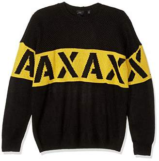 Armani Exchange A|X Men's Crew Neck Pullover with Large Stencil Logo