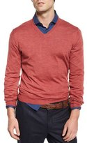 Brunello Cucinelli Fine-Gauge V-Neck Sweater, Raspberry