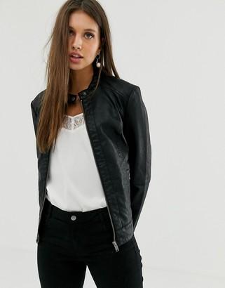 JDY faux leather jacket-Black