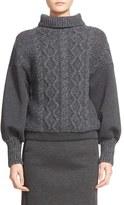 Tomas Maier Women's Cable Knit & Scuba Fleece Turtleneck