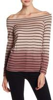 Lucky Brand Off-the-Shoulder Ombre Stripe Shirt