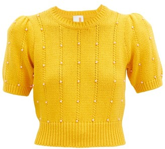 JoosTricot Beaded Cable-knit Cotton-blend Sweater - Yellow Multi