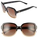 Tory Burch Women's 55Mm Polarized Sunglasses - Black/ Tan