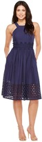 Vince Camuto Cotton Eyelet Sleeveless Fit and Flare Midi Dress Women's Dress